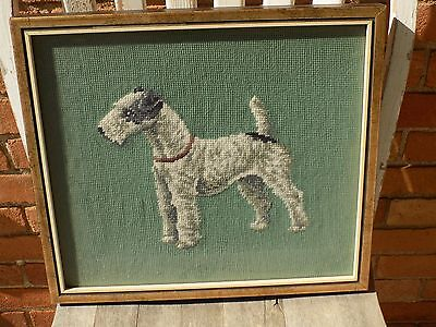 Vintage Handmade Embroidered AIREDALE TERRIER Framed Needlepoint Portrait