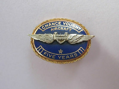 Chance Vought Aircraft Aviation 5 Year Service Pin 10K 10Kt Vintage Wings