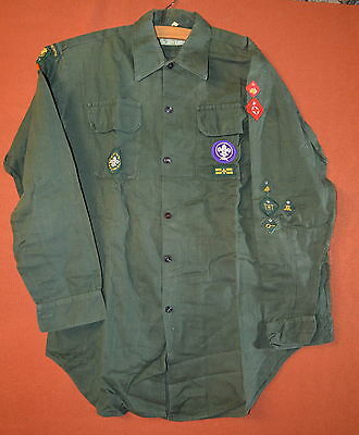 Vintage Boy Scout Cubs Shirt With Badges - free UK postage