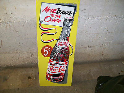 vintage pepsi more bounce to the ounce tack up  tin sign 10 x 26 very nice color