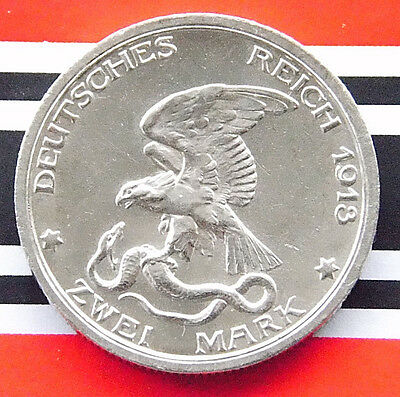 RARE GERMAN Coin 2 Mark States PRUSSIA 1913 A Defeat of Napoleon 90% Silver WWI