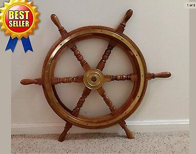 "Deluxe 30"" acacia wooden ship's wheel with brass ring and brass hub Pirate Decor"