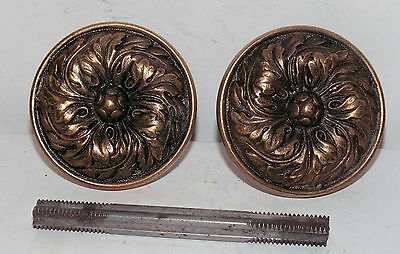 VINTAGE Brass Art Nouveau Victorian Antique Door Knobs Complete Set Pair Beauty