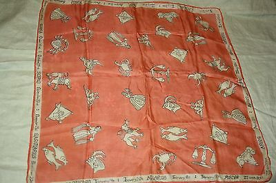 Vintage silk Zodiak head scarf. Rare and in Fab condition