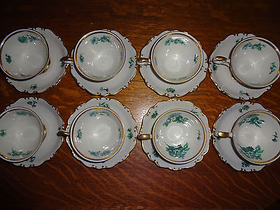 *Vintage SCHUMANN ARZBERG GERMANY EMERALD ROSE TEA CUPS W/SAUCERS Green & White