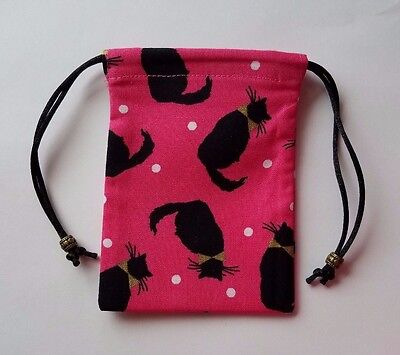 "Small Lined  Black Cats on Pink Bag (C) 3"" x 4"" jewelry keepsake crystals pouch"