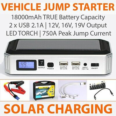 12V Portable Car Jump Starter w/ Solar Panel | USB & Power adapters | LED Torch