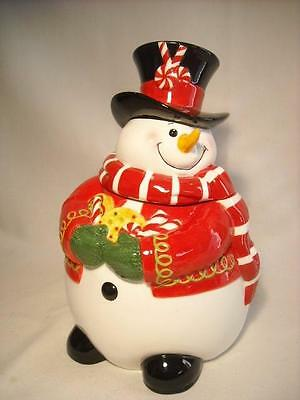 New Fitz & Floyd Sugar Coated Christmas Cookie Jar Snowman