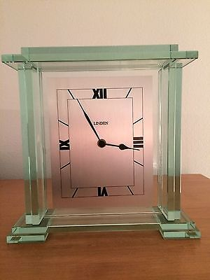Linden Mineral Glass 10 1/4 x 10 1/4 Roman Numeral Mantel Clock