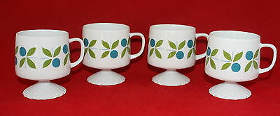 Vintage 60's Footed Stackable Coffee Mugs Modern Green and Blue Floral Set of 4