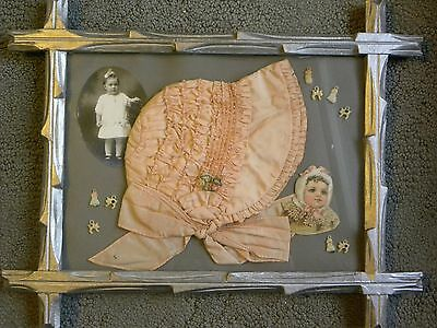 Vintage Baby Bonnet Satin Smocked Celluloid Charms Victorian Art Photo Framed