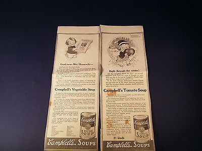1917 CAMPBELL'S SOUPS VINTAGE PRINT AD From magazine Lot of 2