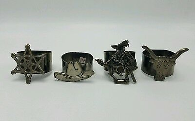 Cowboy Western Napkin Rings Set of 4 Bull Hat Sheriff Country