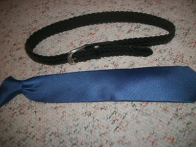 "Boys 14"" Chaps blue tie & 30"" leather belt size Small S"