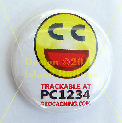 "Geocaching Trackable Keyring - ""Found It"" Smiley"