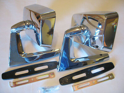 SQUARE CHROME FENDER DOOR MIRROR PAIR NEW CLASSIC CAR right and left two
