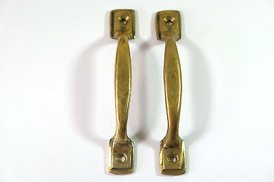 Pair of Vintage Antique Door handles cabinet pulls drawer brass knobs hardware A