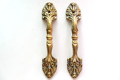 Pair of Vintage Antique Door handles cabinet pulls drawer brass knobs hardware C
