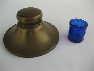 Cobalt Blue Inkwell With Lidded Brass Base