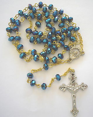 Rosary BLUE Crystal beads 6mm with 40mm shapely cross and Marian Centre. NEW!