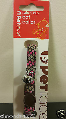 New Petface Safety Clip release Pink Dots Cat Collar with free Australia Post