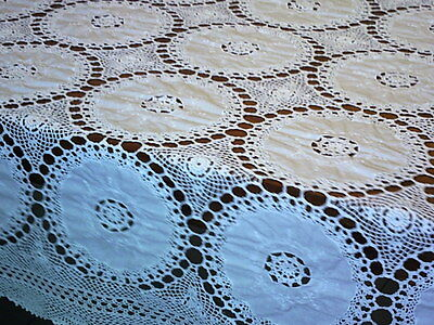 Vintage Tablecloth Crochet Lace Repeat Embroidered Doilies Robust White Cotton