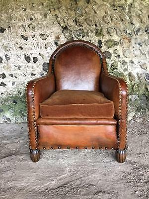 Antique French Chestnut Leather Club Arm Chair C1940 Vintage