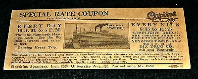Old Early 1900's Original Streckfus Steamboats Ticket, St Paul, Minnesota