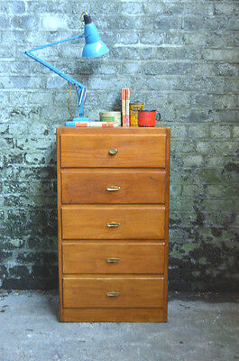 Vintage Mid Century Tallboy Chest of 5 Drawers Sideboard Cabinet