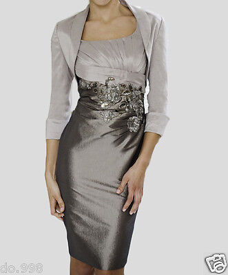Taffta Mother of the Bride Dress Formal Occasion Outfit + jacket  free