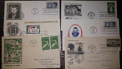Lot 1- 6 Fdc  Lettres Usa  1947/1964