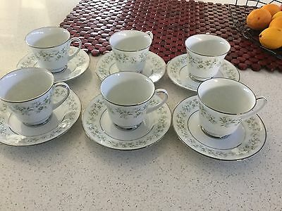 Noritake Cups And Saucers Set Of Six Made In Japan Perfect Cond.