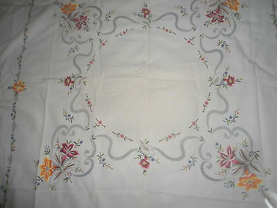 """Gorgeous Pale Cream Cotton Hand Embroidered/cut Work Tablecloth 47"""" Square"""