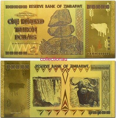 Zimbabwe 100 Trillion Gold Banknote Plated Pure 24K Gold with Colour (ZM1CLR)