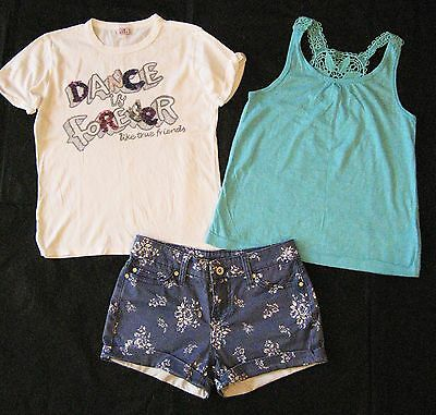 JohnnieB Boden Girls Shorts 24, H&M, DEHA T-shirts Summer Bundle Set 9-10-11y