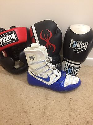 Boxing Gear - Punch headgear, 12/16 ounce gloves and Nike HyperKO boxing boots