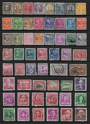 United States Selection Early Stamps On Stock Card. Good Condition Used#12