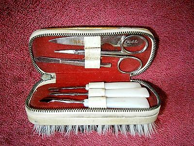 Vintage  German  Brush  And  Manicure  Set In Zip  Storage