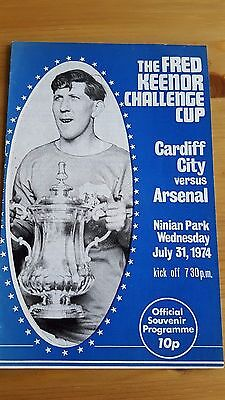 Cardiff City V Arsenal 31.7. 1974 - Fred Keenor Challenge Cup