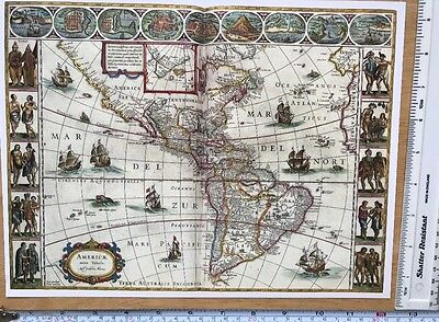 "Antique vintage old colour map America 1600's, 1627: 12 X 9"" Reprint: John Speed"