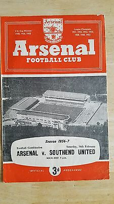 Arsenal Reserves V Southend United 16.2. 1957 - Football Combination