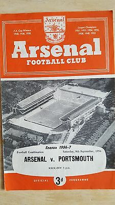 Arsenal Reserves V Portsmouth 8.9. 1956 - Football Combination