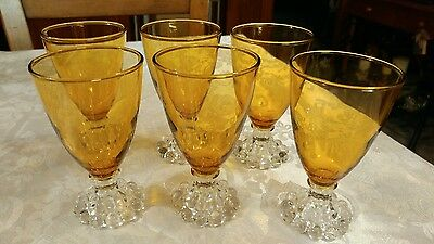 6 Anchor Hocking Candlewick Liquor/Cocktail Glasses Amber Boopie
