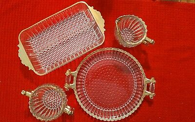 4 Pc Vintage Jeanette Glass Sugar Creamer Set With Tray & Plate