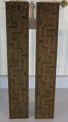 2 Vintage Unusual Asian? Wooden Hanging Wall Plaques Wall Art Brutalist