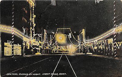 B59/ Great Falls Montana Mt Postcard 1909 Night Central Avenue Stores Lights