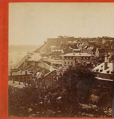 Town View of Quebec w/ Citadel by L P Vallee c 1870s Canada Stereoview