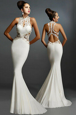 Robe De Soiree Blanche  Ouverte - Taille S -Neuf - White Evening  Dress