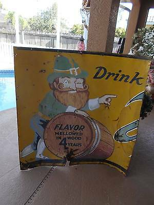 "old vintage VERNOR'S TIN ADVERTISING SIGN (was cut) 46"" wide x 47"" tall"