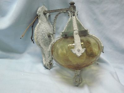 Vintage Amber Glass Brass Oxidized Aluminum Porch Wall Sconce Garden Porch Light